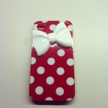 iPhone 5 Red and White Polka Dot with Bow 3D case