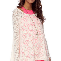 Young and Freesia Lace Tunic Top in Ivory :: tobi