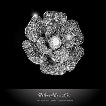 Frawn Large Flower Cocktail Statement Ring | 5 Carat | Cubic Zirconia