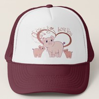 Love You, Cute Piggies Art Trucker Hat