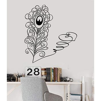 Vinyl Wall Decal Peacock Feather Love Heart Romantic Decor Stickers Unique Gift (ig3576)