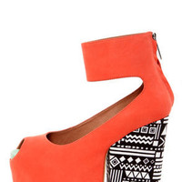 Matiko Francesca Papaya and Tribal Print Platform Wedge Heels