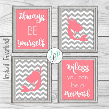 Mermaid Nursery Decor, Mermaid Prints, Mermaid Wall Art, Always Be A Mermaid, Pink and Grey Nursery Decor, Baby Girl Gift, Girl's Room Decor