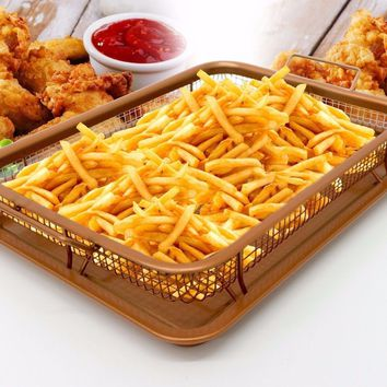 Copper Crispy Tray Oven Air Fryer, Basket reinforced Ceramic Coating Tray, Cook Without Oil