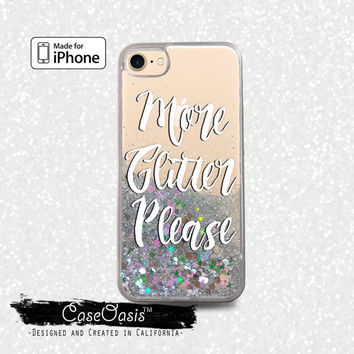 More Glitter Please Quote Cursive Tumblr Liquid Glitter Sparkle Case iPhone 6 and 6s iPhone 6 Plus and 6s Plus iPhone 7 and iPhone 7 Plus