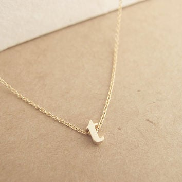 Lowercase Initial Necklace Gold  personalized by LittleThingsByTCY