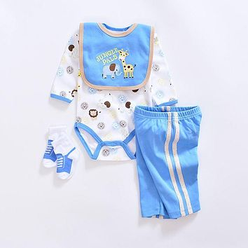 Baby Clothing Set cotton baby girl clothes Newborn boy suit infant baby rompers+trousers+socks+Bib