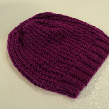 Handcrafted Beanie Hat Magenta Textured Slouchy 100% Acrylic Female Adult Solid -- New No Tags