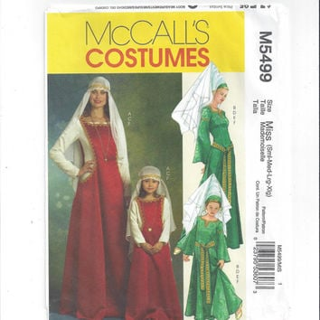 McCall's 5499 Pattern for Misses' Medieval Costume Dress, Hat, Veil, Sizes Small to XL, Drama, Halloween Costume, Home Sewing Pattern, 2007