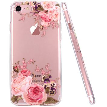 iPhone 7 Case,iPhone 8 Case,JAHOLAN Girl Floral Clear TPU Soft Slim Flexible Silicone Cover Phone case for Apple iPhone 7 / iPhone 8 - Rose Flower