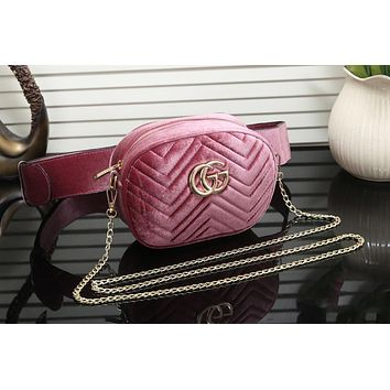 "Hot Sale ""Gucci"" Popular Women Shopping Leather Metal Chain Crossbody Satchel Long Paragraph Velvet Waist Bag Pink"