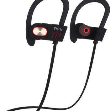 iParis Black Bluetooth Headphones, Sports Earphones  w/Mic , Waterproof HD Stereo Sweatproof Earbuds with 8 Hour Battery Noise Cancelling Headset for all Smartphones