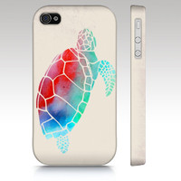 iPhone 4s case, iPhone 4 case, iPhone 5 case, watercolor turtle, colorful watercolor painting, animal art for your phone