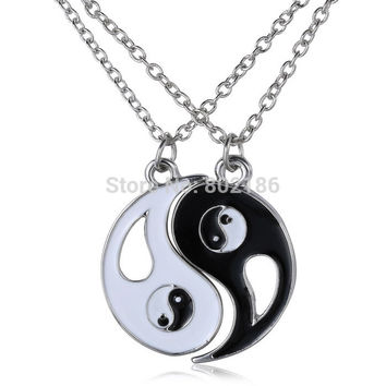 2P set Yin Yang Pendant Necklace Black White Couple Sister Friend Friendship Jewelry Unique Personalized Gifts for Women Enamel
