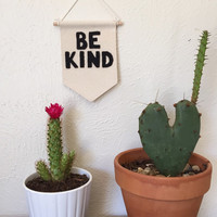 Be Kind 'Black' Wall Banner