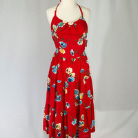 Vintage Cherry Red Floral Sun Dress Built in Bra Adjustable Straps M/L