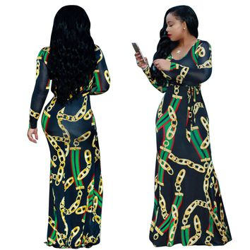 Chains Print Black Maxi Dress with Sleeves