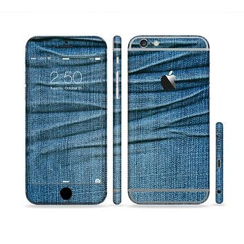 The Wrinkled Jean texture Sectioned Skin Series for the Apple iPhone 6 Plus