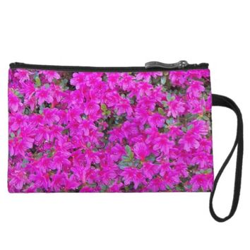 Pink Rhododendron Blossoms Floral Wristlet Wallet