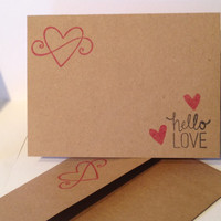 Hello Love Kraft Card Set of 5 Anniversary, Love Note, Thank You