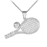 """925 Sterling Silver Smashing Racquet and Ball Charm Tennis Pendant Necklace, 16"""""""