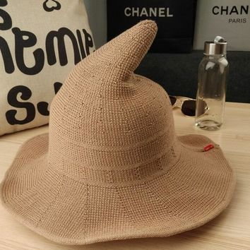 New Crochet Witch Hat Halloween cap knitting fisherman hat qiu dong Female fashion witch Felt tall pointed hat accessories khaki