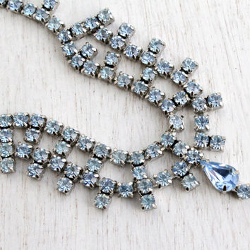 Vintage Blue Rhinestone Necklace - 1950s Silver Tone Bridal Costume Jewelry / Icy Baby Blues