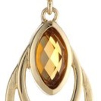 """18k Yellow Gold-Plated Sterling Silver and Genuine Madeira Citrine Oval Pendant Necklace, 18"""""""