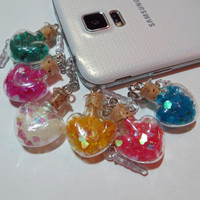 New!! Glitter Valentine Heart Bottle Phone Charm for iPhone, Samsung, or iPod, Dust Plug, Kawaii