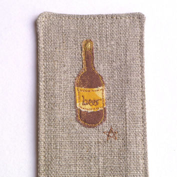 Handmade bookmark with beer design. Gift for him. Embroidered fabric beer bookmark, natural linen with brown and white dotty fabric back.