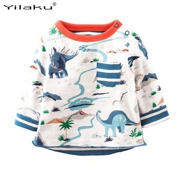 Dinosaur Boys Cotton T-shirt Kids Boys Clothing Full Sleeve Baby Boys T Shirts Kids Tees Cartoon Children Sweatshirts CG238