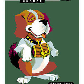 FLY TO EUROPE vintage travel poster 24X36 ST. BERNARD mascot CUTE hot RARE!