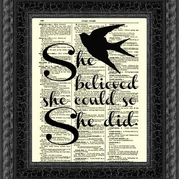 She Believed She Could So She Did Quote, Inspirational Dictionary Print, Wall Decor, Motivational Art Print