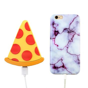 2000 mAh Portable Power Bank Phone Charger - Pizza
