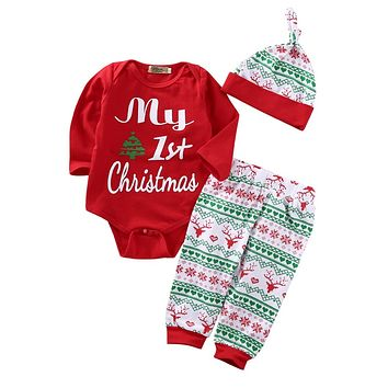 3 Pieces Newborn Baby Boy Christmas Clothes Long Sleeve Top and Pant, 1pcs Cap Hat