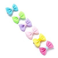 Neon Pop Ribbon Bow Hair Clips Set of 6  | Claire's