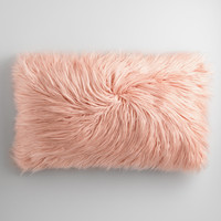 Oversized Pink Mongolian Faux Fur Lumbar Pillow