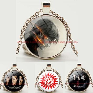 New Design Movie Jewelry Supernatural Necklace Silver/bronze Color Glass Dome Pendant Necklace Charm Long Chain Necklace