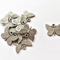 set of 10 pieces butterfly charms, 22mm x 15mm, gun metal / pewter metal alloy - C126