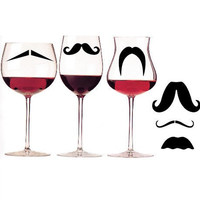 "BUY any 2 sets and get 1 FREE - "" 6 Mustache Stikrz"" - funny party favor geekery Wedding Decal 110G"