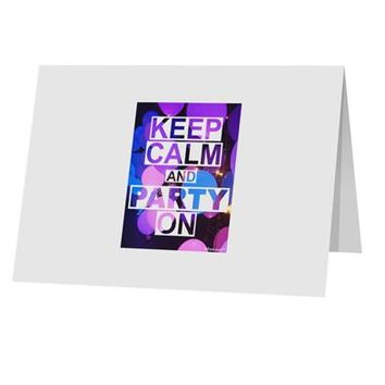 """Keep Calm - Party Balloons 10 Pack of 5x7"""" Top Fold Blank Greeting Cards by TooLoud"""