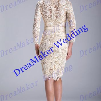 ZGS186 High-level Custom Made Venice Lace Mother Of The Bride Dress Long Sleeves Vintage Mother of T