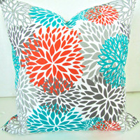 THROW PILLOWS 18x18 Orange Teal Throw Pillow Covers 18 x 18 Aqua Turquoise Gray Decorative Throw pillows Indoor Outdoor