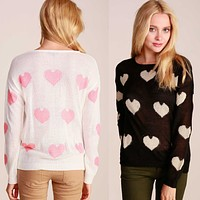 Cute Round Neck Long Sleeve Heart Patterned Knit Light Sweater Pullover Knitwear