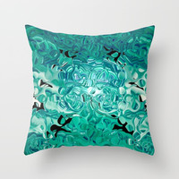 Turquoise Tear Drop Texture Abstract Throw Pillow by Sheila Wenzel