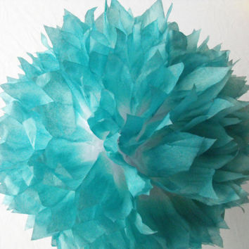 Teal & White Pom / Turquoise Wedding Decoration  / Birthday / Party Decoration / Baby Shower Decoration / Nursery Decoration