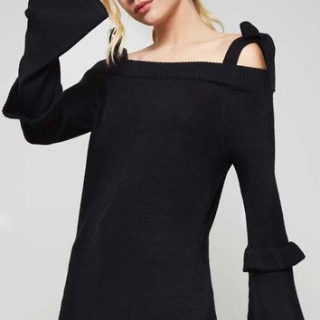 Open Shoulder Tunic Knit Top