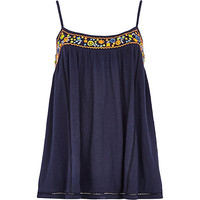 River Island Womens Navy floral embellished babydoll cami top