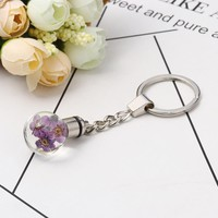 "Doreen Box Glass Dried Flower Keychain & Keyring Ball Silver Color Transparent LED Light Up 9.8cm(3 7/8"") x 3cm(1 1/8"") 1 piece"