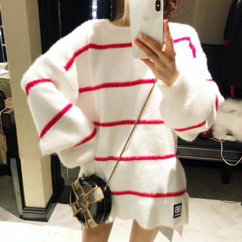 """Balenciaga"" Women Fashion Multicolor Stitching Stripe Long Sleeve Sweater Loose Thickened Tops"